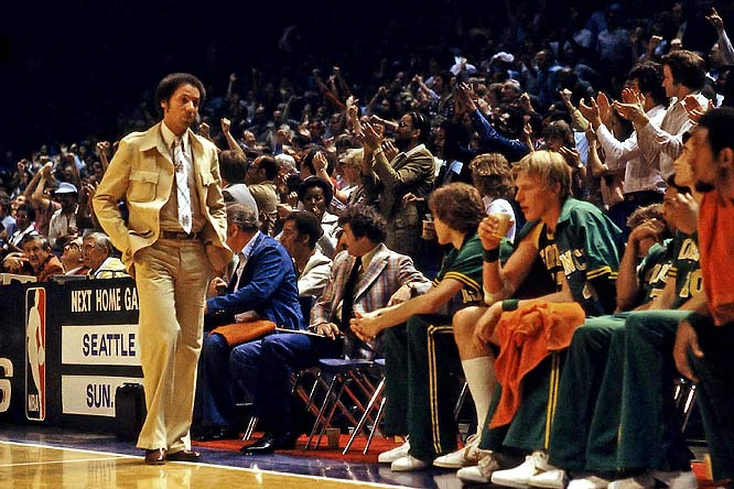 Lenny Wilkens walks the sideline for the Seattle Sonics. Wilkens was a player-coach previously for Seattle and led them to an NBA title in 1979.