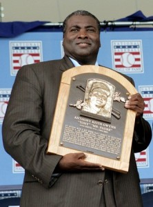 Gwynn accepting his Hall of Fame plaque in 2007.