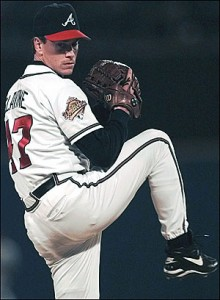 Glavine in 1995, pitching the Braves to the only World Series title of their incredible  run of success.