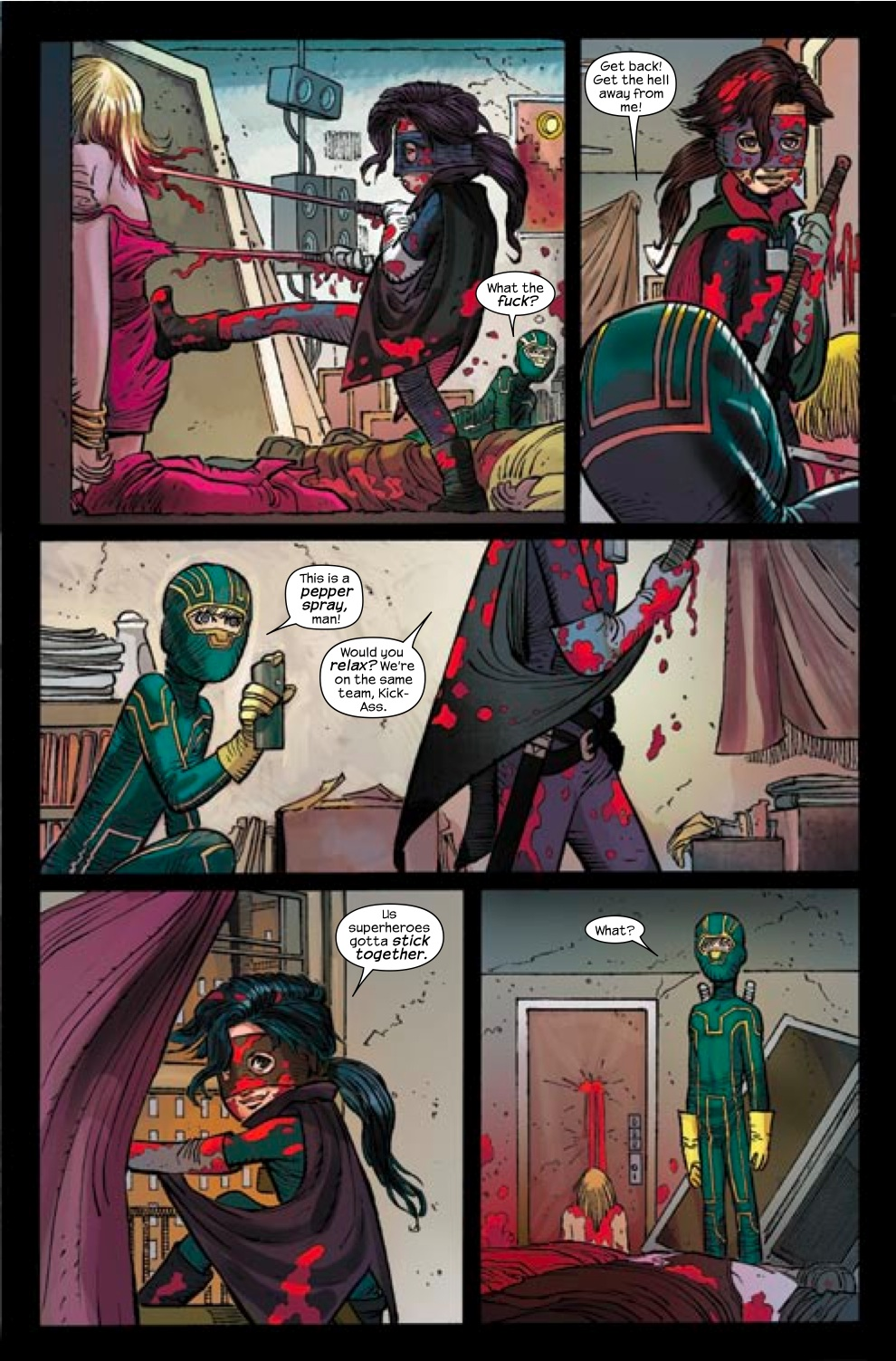 Kick-Ass and Hit Girl meet for the first time.