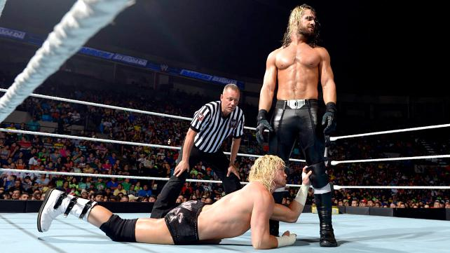 Dolph Ziggler makes some Divas laugh at Seth Rollins' expense. Find out who laughs last on this week's edition of Smackdown. [Photo courtesy of WWE.com]