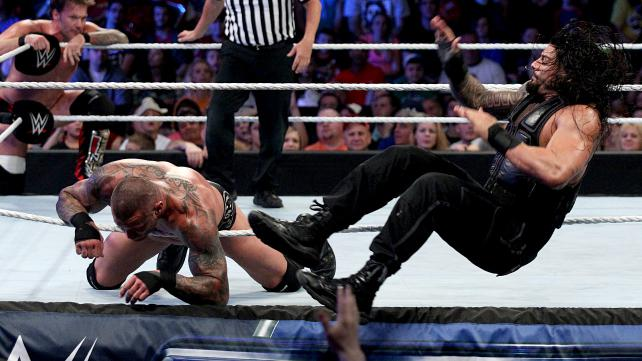 In tonight's main event, Chris Jericho and Roman Reigns join forces to take on the Authority's Randy Orton and Seth Rollins. [Photo courtesy of WWE.com]