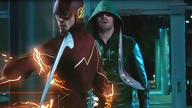 "Flash on saving Arrow from Captain Boomerang: ""Everybody gets one."""