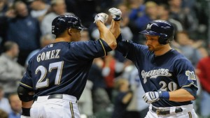 Carlos Gomez (L) and Johnathan Lucroy (R) probably won't have much to celebrate this year in Milwaukee.