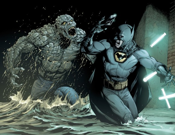 Croc forces Batman to drop his DX glow sticks.