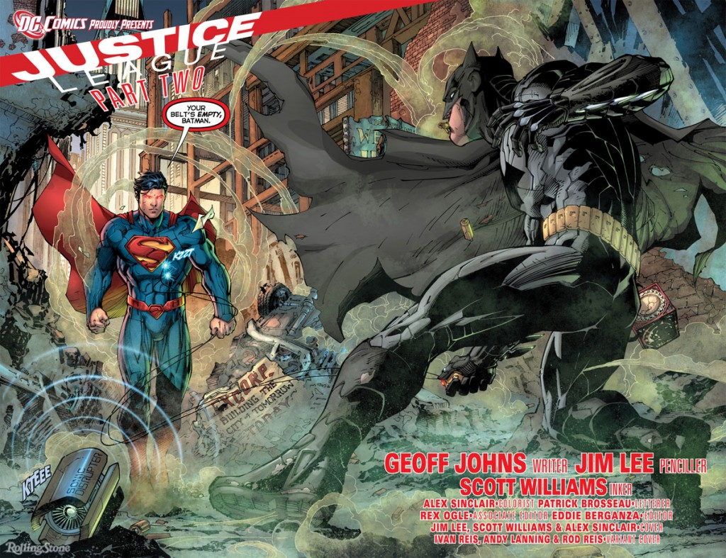 Justice Leauge Origin Superman Batman fight