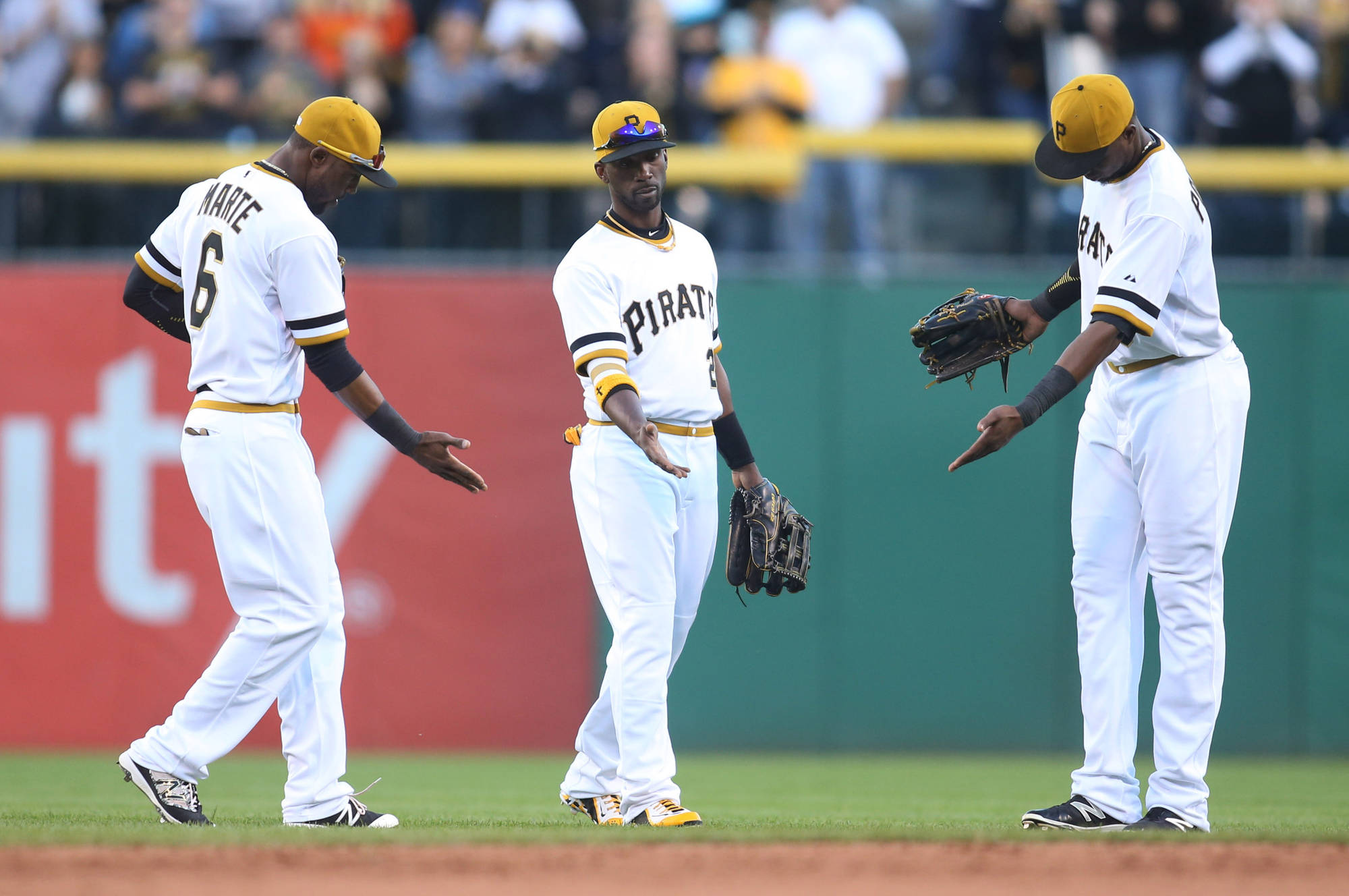The best outfield in baseball: (L-R): Starling Marte, Andrew McCutchen, and Gregory Polanco.