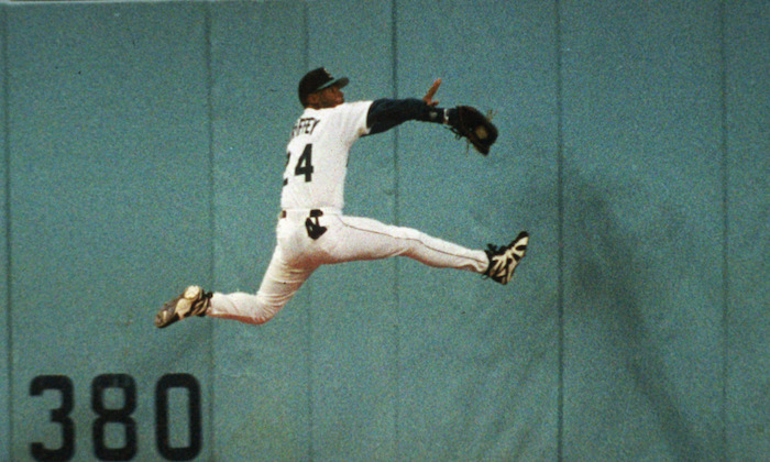 Just one of Griffey's amazing catches that helped him net 10 Gold Glove Awards.