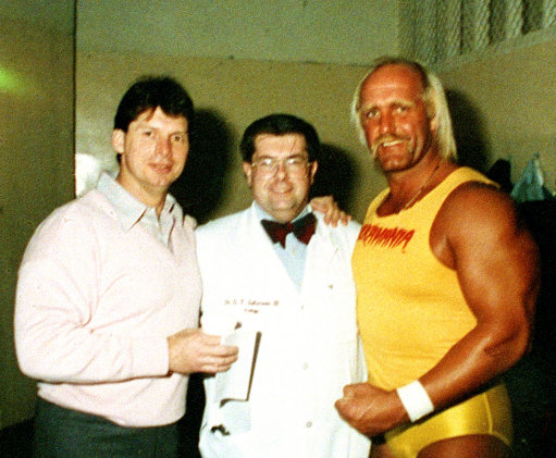 Dr. George T. Zahorian III, center, an osteopath from Harrisburg, Pa., poses with Vince McMahon, left, and wrestler Hulk Hogan in 1988. (AP Photo/Richard Drew)