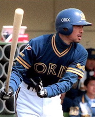 Ichiro rapping out one of his 1,278 hits for the Orix Blue Wave.