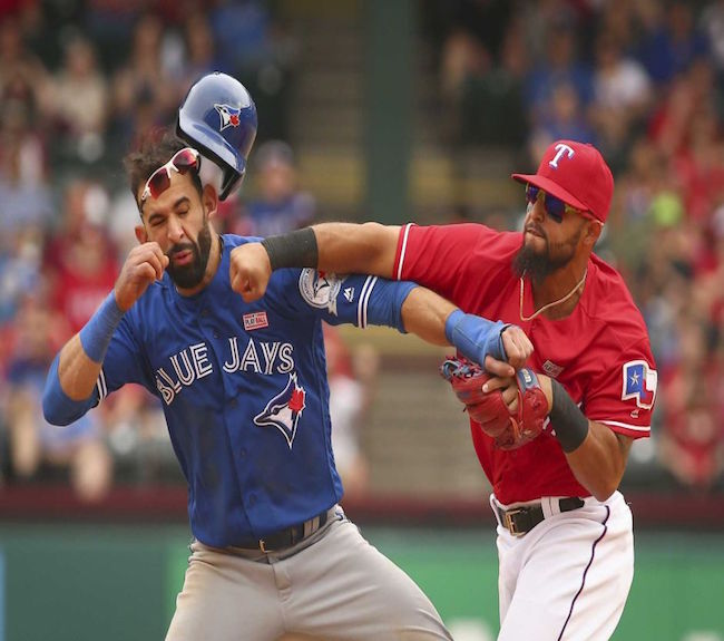 The Jays and Rangers lock up in a rematch of last year's ALDS, where this happened.