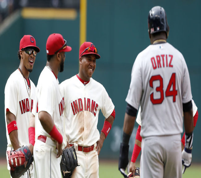 Can Ortiz and the Red Sox be stopped by (L-R) Francisco Lindor, Carlos Santana, Jose Ramirez, and the rest of the Tribe?