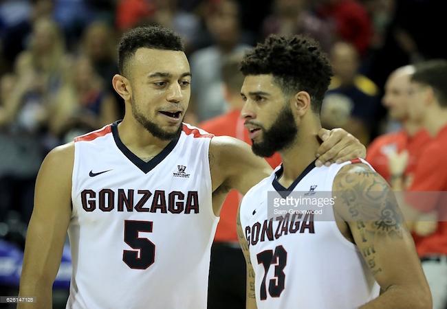 Gonzaga's Nigel Williams-Goss (L) and Josh Perkins (R) celebrate a big win.