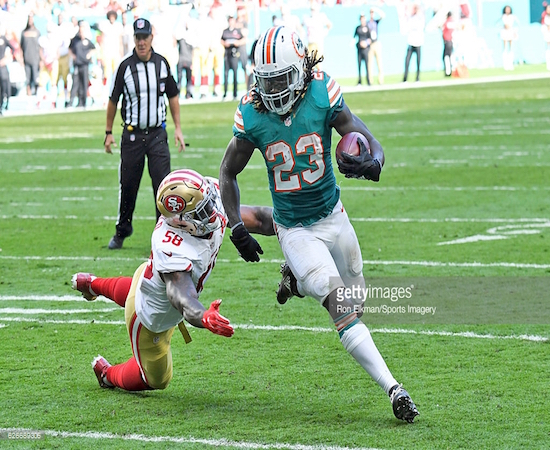 Jay Ajayi (23) and the rest of the Dolphins haven't made believers of our panel, despite a six-game winning streak.
