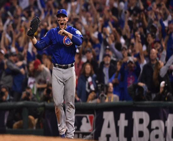Anthony Rizzo goes bananas after recording the Curse-ending out.